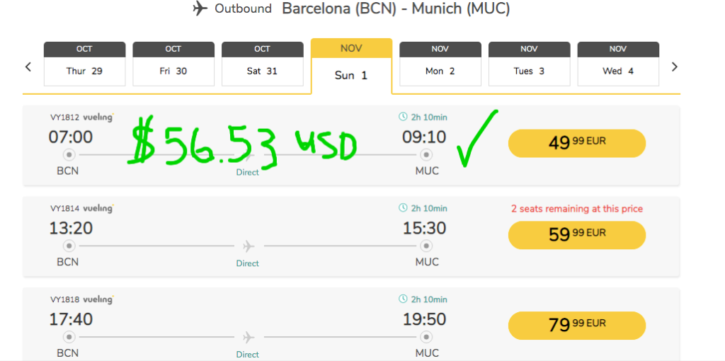 Budget Airlines sites have different upgrades