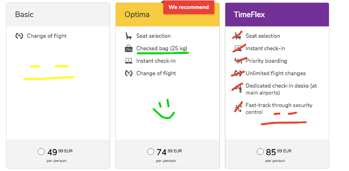 Budget Airlines sites have different options
