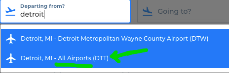 Budget Airlines sites all flight checkbox