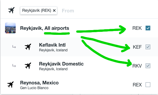 Be sure to select the all airports checkbox on Budget Airlines sites