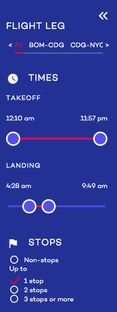Stopovers with Cheap Flight Tickets step 5 adjust search filters