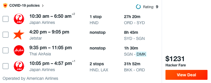 example Multi City Flights 3 destinations