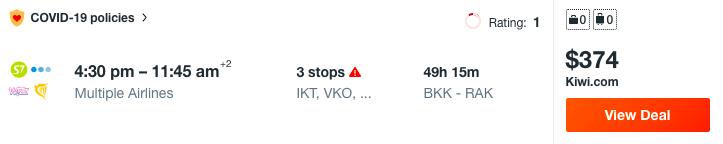 example Multi City Flights 4 destinations