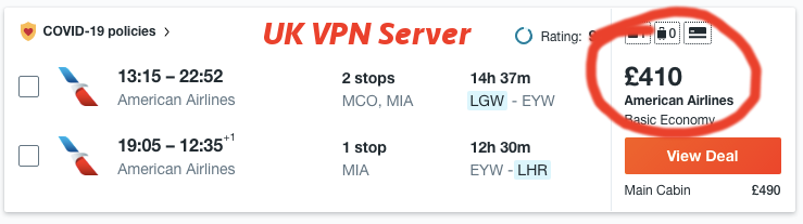 I used a vpn to save money on flights. Example 2