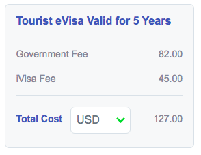 iVisa clearly displays a total price.