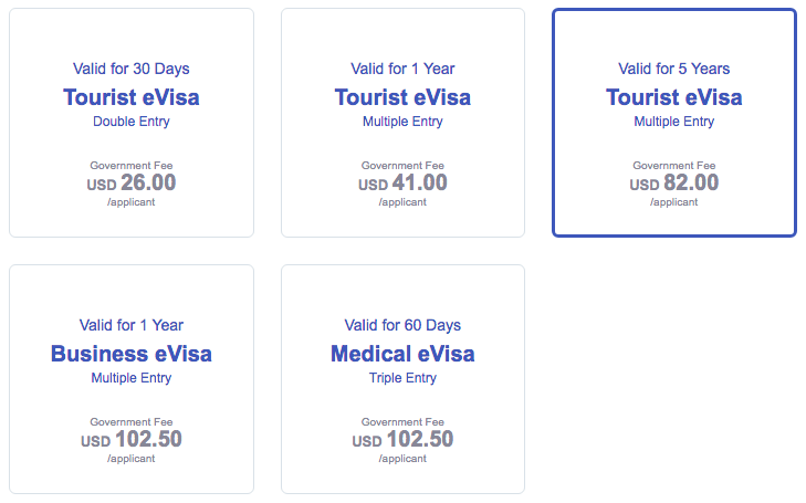 Select the proper visa for your trip.