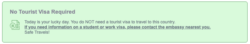 Sometimes Visas are not required to enter a foreign country